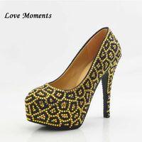 Muilti couleur strass chaussures de mariage léopard Haute femme Plate-forme de talon Plus Taille 34-43 Fête Femme Q0709