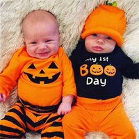 2021 Halloween Baby Three-piece Suit CLothes Cotton Jumpsuit+ Trousers + Hat Pumpkin Set Ins Infant Boys And Grils Winter Warm Clothing G902KYN