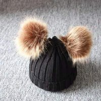 Beanies 2021 Autumn And Winter Children's Double Ball Knitted Hat Korean Version Boys Girls Wool Baby Warm
