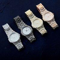 새로운 다이아몬드 상감 인 남성 시계 힙합 패션 대형 다이얼 캘린더 쿼츠 Jinao