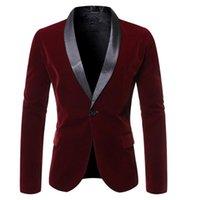 Men's Suits & Blazers 2021 Men Wine Red Velvet Suede Business Casual Dress Slim Blazer Jacket Homme Fashion Stage Party Formal Suit Coat Out