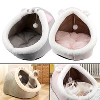 Cat Beds & Furniture Pet Basket Foldable Soft Nest Kennel Kitten Lounger Cushion Cozy Washable Winter Warm Bed Cute House Tent