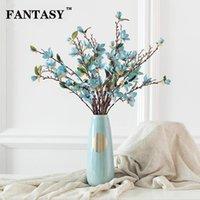 Fiori decorativi Corone 84 cm Seta magnolia Fiore artificiale Bouquet Falso Orchidea Floral Ramo floreale Tessuto simulato per camera da letto Matrimonio DEC