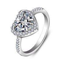 Vecalon Heart Crown Ring 5A Zirkoon steen 925 Sterling Silver Promise Engagement Bruiloft Band Ringen voor Dames Vinger Sieraden 177 R2