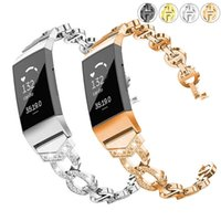 Essidi for Fitbit Charge 3 4 Smart Bracelet Strap Stainless Steel Bling Women Watch Band Loop Replacement for Charge 3 4 Correa H0915