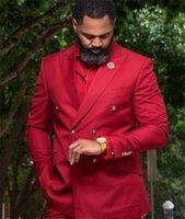 Men's Suits & Blazers Red Plus Size Groom Tuxedos Double Breasted Groomsmen Mens Man Pants Wedding Tailored Blazer Jacket (Jacket+Pants)