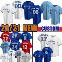 Custom Jersey 4 George Springer Toronto 2020 2021 27 Vladimir Guerrero Jr. azul Cavan Biggio Joe Carter Bo Bichette Alomar Jays Baseball Novo