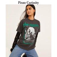 Curiosidade Pirata Carta Brilhante Impressão T Camiseta Mulheres Verão 2021 Cinza Vintage Oversized Tshirt Femme Loose Casual Tshirt Fashion