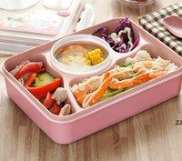 Retângulo Crianças Sopa de Sopa de Sopa Sub-grade Plástico Lunch Caixas Microondas Compartimento Comida De Armazenamento Comida Recipientes Bento Caixa HWB10165