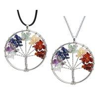 Árvore de vida de quartzo pingente colar arco-íris 7 chakra multicolor natural de pedra sabedoria árvore de couro colar de cadeia de couro para meninas 309 T2