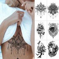 10 pcs Waterproof Temporary Tattoo Sticker Chest Lace Henna Mandala Flash Tattoos Wolf Diamond Flower Body Art Arm Fake Tatoo Women Men