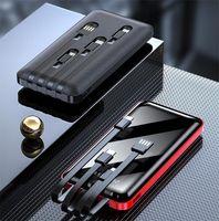 20000mAh 전원 은행 4 케이블 전체 화면 PowerBank 휴대용 외부 배터리 휴대 전화 충전기 마이크로 USB 유형 C 케이블
