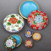 다채로운 에나멜 선조 구리 라운드 보석 상자 중국 스타일 칠보 장식 보석 포장 케이스 여성 선물