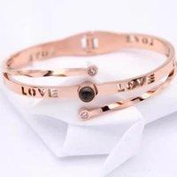 Titanium steel Rose Fine Gold CZ 100 languages I love you Projection Star Fashion Charm Women Bracelet beautiful CT Solid