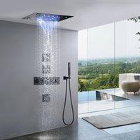 Matte Black Waterfall Thermostat-LED-Regen-Duschsystem 14 x 20-Zoll-Rechteck-Luxus-Ceil Mounted Kopf-Badezimmer-Mixer-Wasserhahn-Set