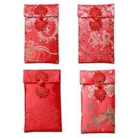 4 adet Çin İpek Kırmızı Zarflar, Hongbao Hediye Paket Çanta Kırmızı Şanslı Para Cepleri Yeni Yıl Bahar Festivali, Düğün için