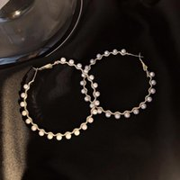 Dangle & Chandelier White Imitation Pearl Circle Hoop Earrings Simple Gold Color Metal Women's Fashion Big Hoops Statement