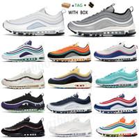 2021 جديد 97 أزياء الرجال النساء الثلاثي المدربين أحذية أسود أبيض 97S عاكس bred لعبة الملكية رصاصة فضية أورورا رياضية رياضية