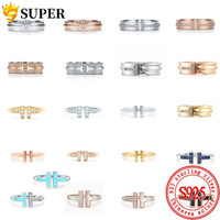 100% 925 Ayar Gümüş Orijinal TIFF Yüzük T Serisi Çok Renkli Seçim Takı Charm Marka Tasarım Kadınlar Için Logo Yüksek Takı Hediye S925