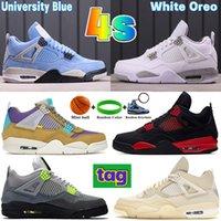 2021 Université Blue 4 4S Mens Basketball Chaussures Basketball Blanc Métallique Purple Désert Moss Black Cat Shimmer Bred SE Néon Hommes Femmes Sneakers
