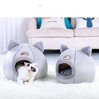 لينة القط المنزل الدافئة السرير الكهف خيمة مع وسادة القابلة للإزالة الشتاء النوم الوسادة pet عش القطط المنتجات Y200330 748 K2