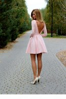 Cheap Short Homecoming Dresses Lace Long Sleeves V Backless Cocktail Party Club Wear Gowns O-Neck Prom Vestidos