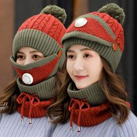 NEWWomen Winter Cap With Mask Neck Cover Knitting Warm Wool Beanies Hat Set Collar Knitted Caps Outdoor Cycling Hats SEASHIPPING LLB11058