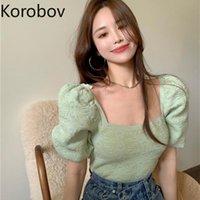 Women's T-Shirt Korobov Women T Shirts 2021 Arrival Vintage Square Collar Puff Sleeve Knitted Korean Elegant Slim Tee Tops