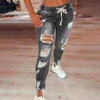 Women's Jeans Boot Cut For Women Ripped Hole Skinny Slim Ladies Drawstring Denim Trousers Pants Female Jogger Pantalon Jean Fille