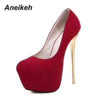 Aneikeh Big Taille 41 42 43 44 45 Sexy Pompes Sexy Mariage Femmes Chaussures Fetish Femme Concise High Heel Heel Stripper Flock 16 cm 210610 W3VU