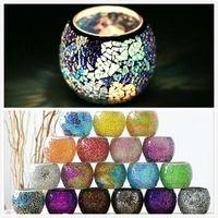 Soporte de vela de mosaico Candillo de cristal de cristal Candlestica de la boda Candlestick Velada Velada Valentines Day Home Velde Lanter GWD5403