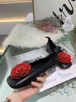 34 40 black white red flower sheep skin genuine leather lamb soft flats shoes ballerina