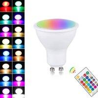 Dimmable RGB 색상 변경 LED 전구 220V 110V GU10 매직 LED 전구 8W RGB 램프 원격 제어와 함께 16 색 장식