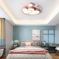Tavan Işıkları Yatak Odası Nordic LED Işık Modern Basit Sıcak Romantik Kız Prenses Çocuk Odası Pembe Kalp Şeklinde Lamba