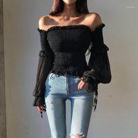 Katı Renk Pileli Yay Moda Kadınlar Bayanlar Uzun Kollu Kapalı Omuz Kırpılmış Tops Bluz Gömlek Lace Up Korse Beyaz / Siyah1