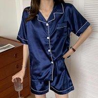 Pijamas casuais e confortáveis mulheres sleepwear solto tracksuit short manga shorts seda de gelo adicionar fertilizante para aumentar o pescoço V
