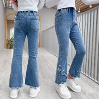 Jeans For Girl Flare Kids Girls Casual Style Denim Pants 2021 Spring Autumn Clothes Korean Fashion Trousers 6 8 10 12 14Y