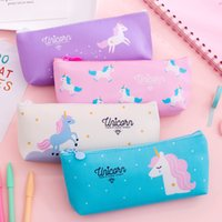 Fresh Lovely Simple Small Large Capacity Unicorn Candy Color Rainbow Pony Pencil Bag Student Stationery