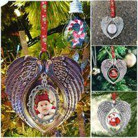 Sublimation Blank Decorazioni natalizie con neve Corda rossa Transfer a caldo Stampa Angelo Ali Forma Forma di materiali di consumo Blank Gyq