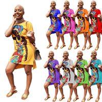 Vestidos Africanos para Mulheres Verão Manga Curta Dashiki Imprimir Rico Bazin Nigeria Roupas Senhoras Roupas