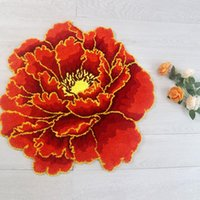 Carpets 3D Peony Thick Flower Carpet Bedroom Living Room Round Rug Bed Soft Parlor Pink Anti-slip Hallway Chair Kids Door Mat