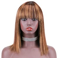 Highlight 4 27 Ombre Human Hair Bob Wig With Bangs For Black Women Honey Blonde Colored Raw Virgin Indian Short Pixie Cut Glueless Wigs