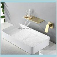 Torneiras, chuveiros como casa Gardenwaterfall torneira escovado parede de ouro montado banheiro banheiro grande plataforma de plataforma de plataforma água bacia misturador de água qualidade