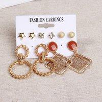 Orecchini metallici in metallo tappa acrilico Orecchini geometrici per le donne zircone foglie di fiori ciondolare orecchino gioielli moda gioielli ragazza regalo 2908 q2