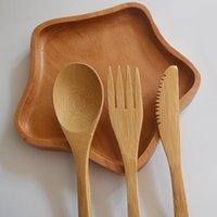 مجموعة أدوات السكاكين صديقة للبيئة خشبية عيدان الزبدة سكين الحلوى ملعقة العشاء شوكة الجليد ملعقة المائدة مجموعة شوكة سكين