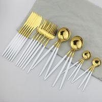 Conjunto de talheres de ouro branco 304 Set Louça de aço inoxidável Conjunto de faca Sobremesa Fork Coffe Colher Jantar Talheres Home Table Utherware Set DHB5548