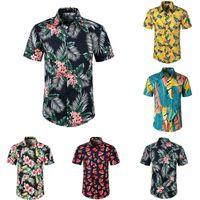 Мужские Гавайские Летние Цветочные Бохо Печатные Пляж Короткие Классные Рубашки Рубашка Топы Блузка