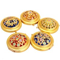 أزياء الذهب لهجة بلينغ المعادن ماكياج التجميل مرآة مصغرة المرايا القطر 7 سنتيمتر للطي جيب الجمال أداة لسيدة مجانية xh2zvv