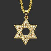 Подвески на шее амулет шея хип-хоп мужская полый алмаз шипованный давид звездный кулон ожерелье соломон печать гексаграмма