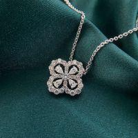 HBP Fashion Luxury Bijoux 2021 Nouveau Pendentif collier de trèfle en argent sterling 925 Pendentif en chaîne de col diamantanée Petit ornement à col frais